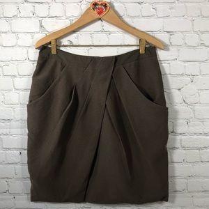 Anthropologie Fei Washi Skirt sz 12 brown